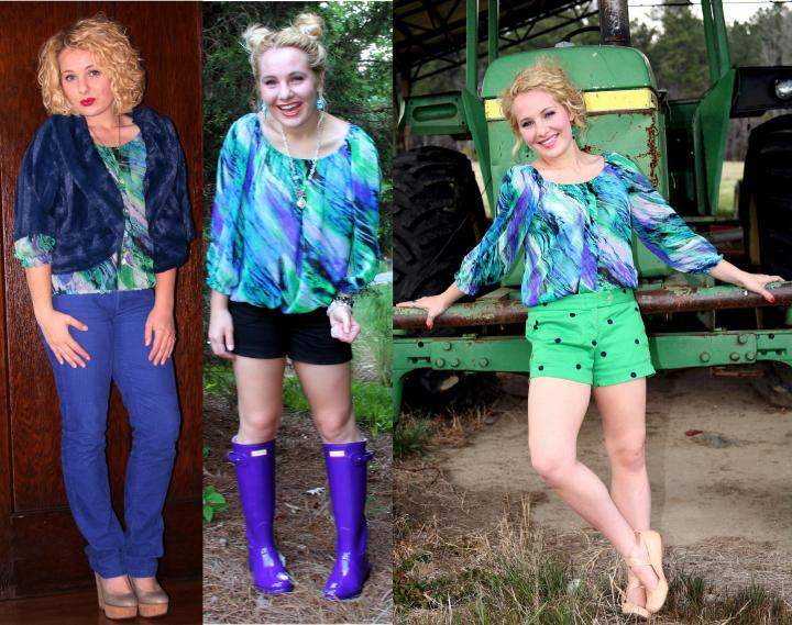 Here are two previous ways I have worn my water color blouse + it featured in a brand new outfit! Naturally, this top lends itself to be more springy; however, I love it so much that I decided to challenge myself to style it for winter...styling success :)  Rain Boots: http://sixteenandsuccessful.org/2014/08/20/surviving-rainy-days-on-campus-tips-outfit-details/ Dot Shorts: https://vintageinspiredpassionista.com/2014/05/04/i-was-born-in-a-small-town-grew-up-in-a-small-town/