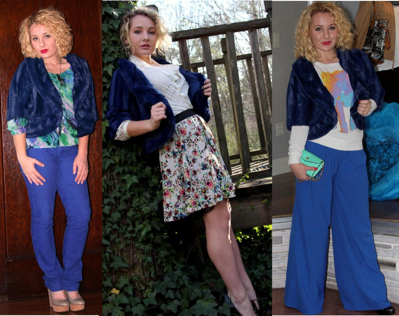 "Here are two previous ways I have worn my cobalt, faux fur shawl on the blog + a snazzy new way to wear it. Who knew blue ""fur"" could be so versatile?! Floral Skirt: https://vintageinspiredpassionista.com/2013/01/04/omg-its-2013-part-two/ Elephant Sweater: https://vintageinspiredpassionista.com/2014/11/03/vip-scrapbook-4u-ultimate-girls-day-out-comes-to-johnson-city-tn/"
