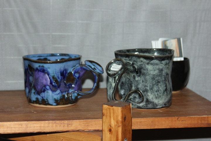 Funky and fabulous coffee cups handmade by Michael Gamble.