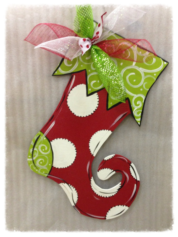 Furniture Flip Alabama: click here to shop. This darling stocking door hanger has me all holly, jolly, and in the Christmas spirit!
