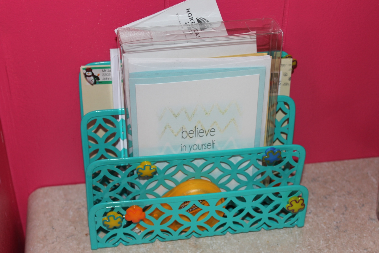 I took this letter holder I got from TJ Maxx and changed it's purpose just a tad by using it to hold my fun stationary. Note: I am so in love with Sincerely Yours by Tracy on Etsy! OMG...she makes the cutest cards and notepads! Take a look here.