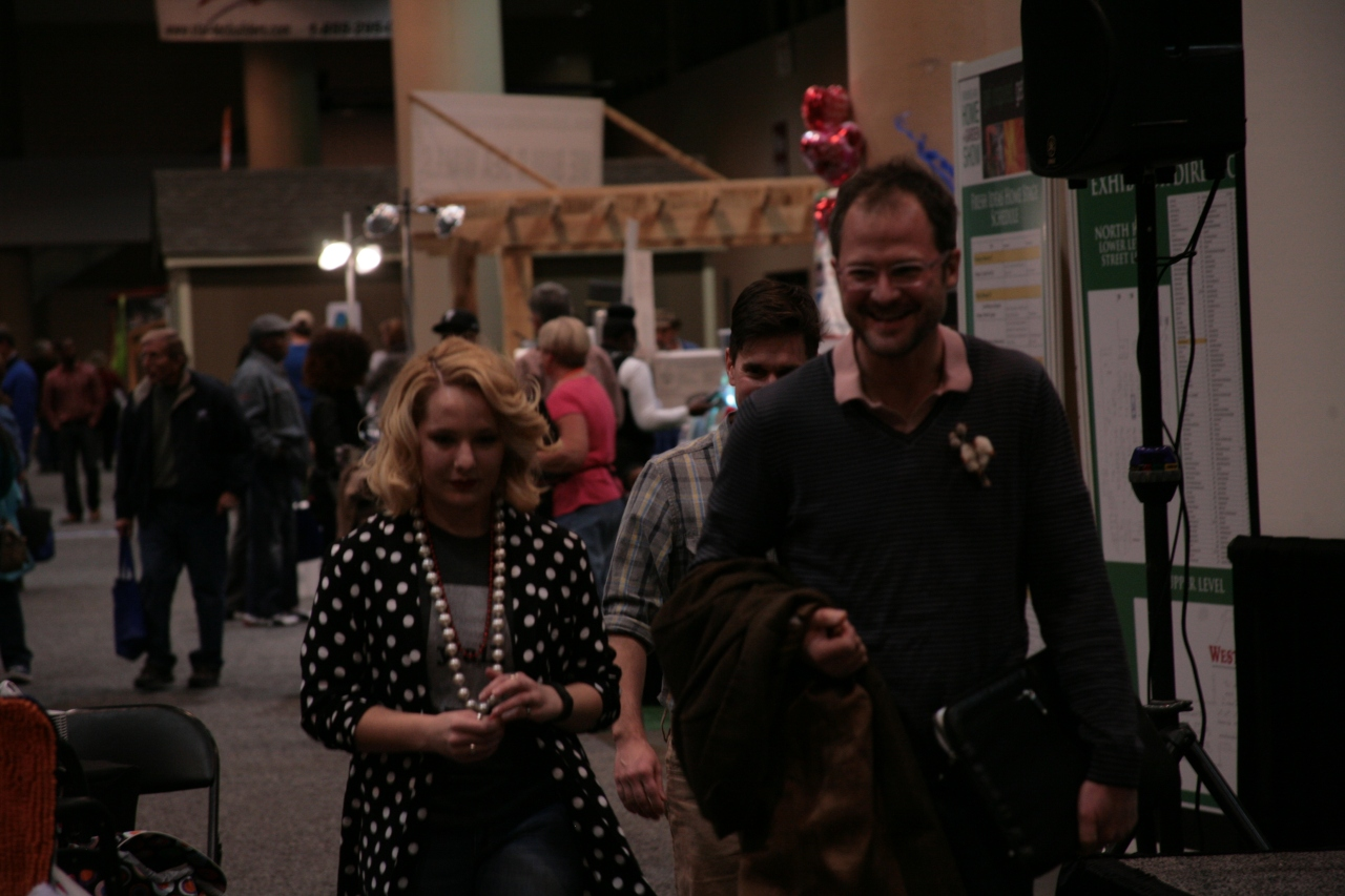The VIP, Josh, and Brent walking to the main stage for The Fabulous Beekman Boy presentation at the Birmingham Home & Garden Show 2015.