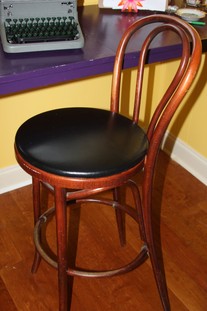 One positive step towards my nook becoming something inspiring. Abby picked up this awesome stool at an old dinner theatre in downtown Johnson City that was closing.