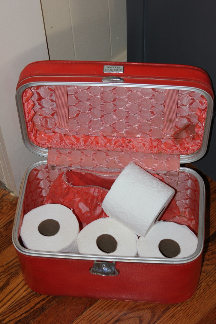SMALL BATHROOM HACK! If you are looking for a cute and easy way to store additional toilet paper, a vintage/thrifted makeup case or small suitcase is perfect! Not only does it look cute sitting out, but it also functions well. I got this vintage makeup case at Redeemables in downtown Johnson City, TN.