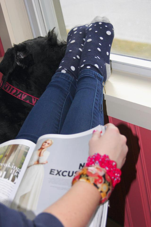 Baby, it's cold outside--so, there will be lots of cuddling with Z the Giant Schnauzer, reading of magazines, and wearing of dotted GAP socks.