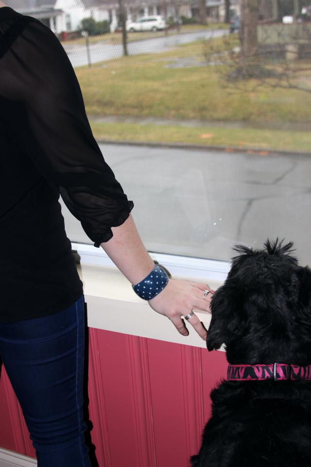Arm party for one and a dog? This dotted, denim-inspired cuff is from Polka Dot Drawer. I love navy and polka dots--so it was love at first sight :)