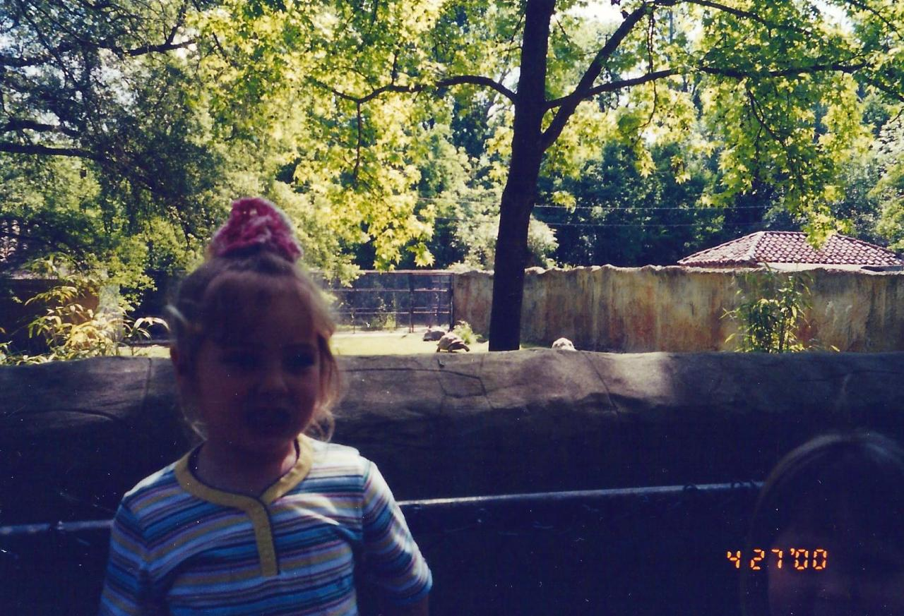 The VIP in 2000 at the Jackson, Mississippi zoo. Check out that crochet scrunchie *wink*