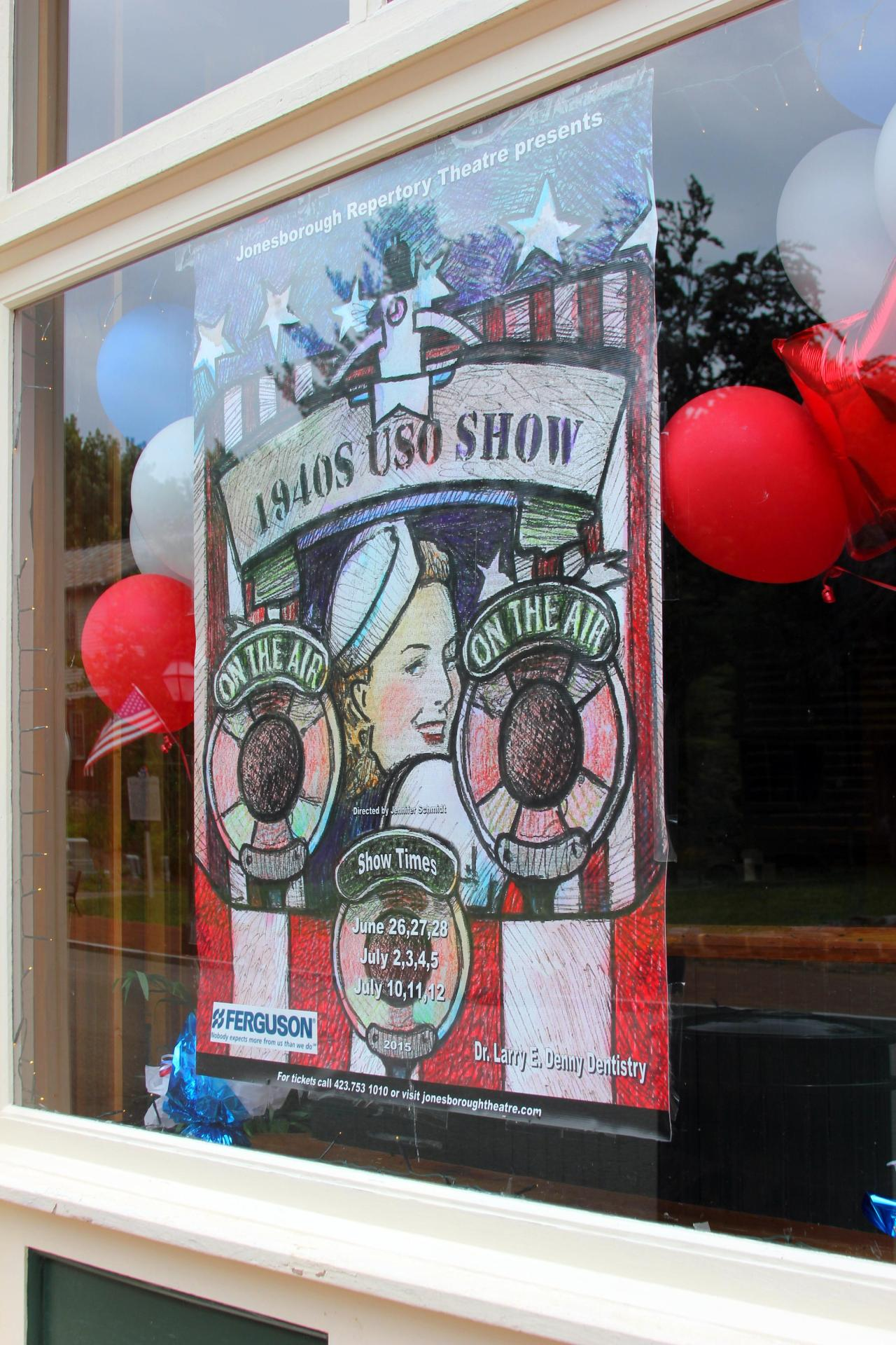 Jonesborough Repertory Theatre window.
