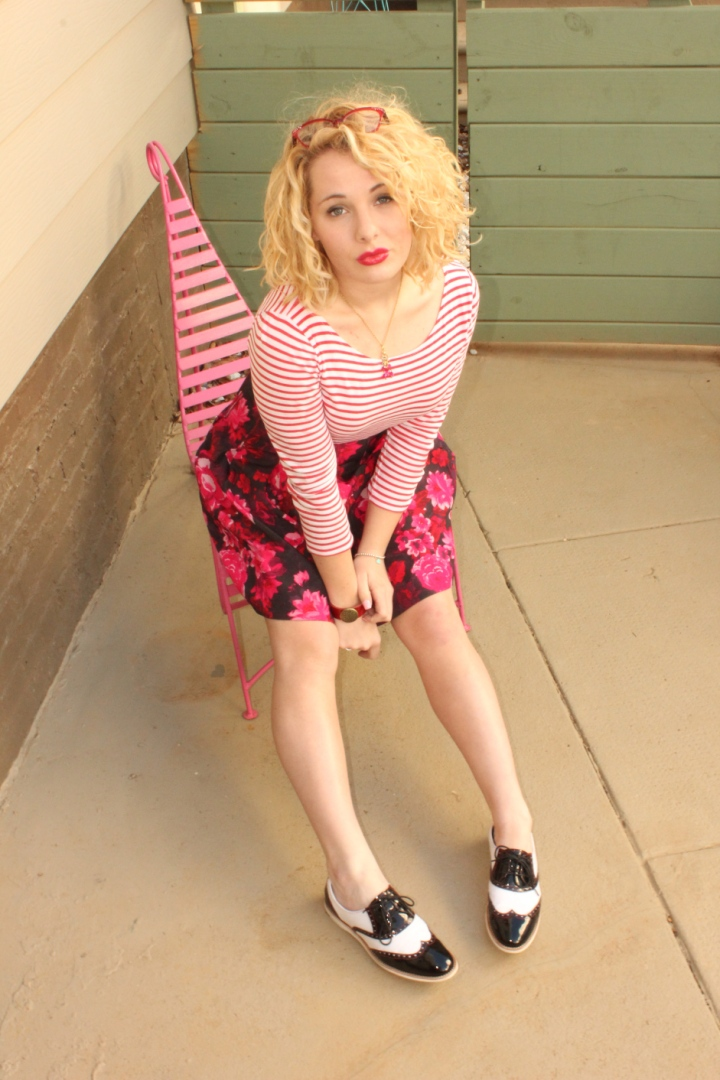 Red stripes, pink/black floral, AND oxfords...WHY NOT?! *wink* Click here for outfit details.