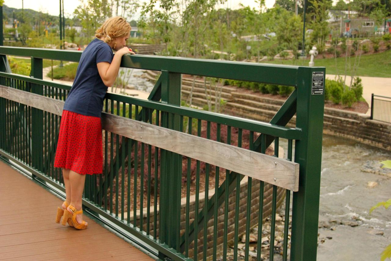 #ShortGirlProbs  Wearing heels AND standing on my toes just to see over the bridge at Founders Park in Johnson City *wink*