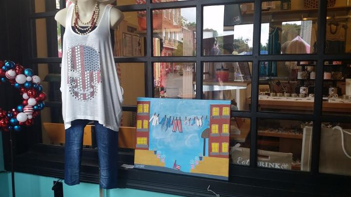 "SPECIAL ANNOUNCEMENT! For those of you who follow my mom's art studio Facebook page, y'all know that she entered several pieces into the Jonesborough Days artwalk. This was her first time ever compete in an art walk, and I am proud to announce that her piece ""Uncle Sam's Laundry Day"" won 3rd overall! Woo hoo! Go Momma *wink* Check out her Facebook page here for more photos of this mixed-media piece."