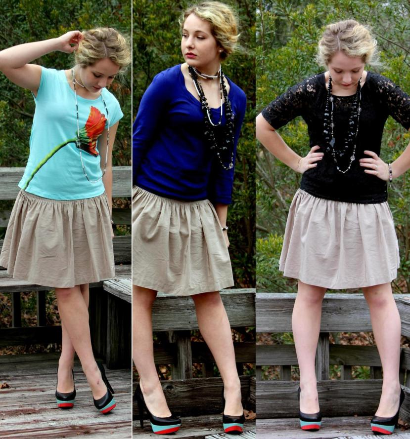 Throwback to one of the first VIP Three Ways to Wear posts EVER! *gasp* I still have that skirt too *wink* Maybe...just maybe it will make a reappearance in 2016...Hmmm...
