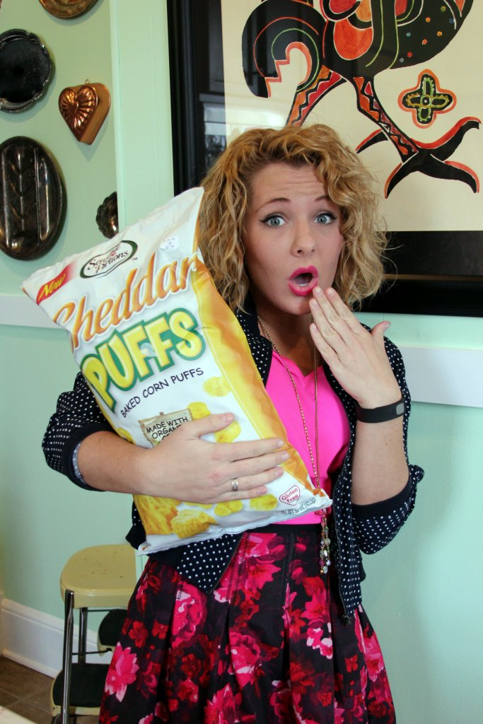 In addition to Gabe's having men, women, and children's fashions + home decor--they also have some pretty delicious snackies for great deals! I got these cheese puffs for $3.00, and just to show y'all how huge the bag is...I had to take this picture *wink* Hi, my name is Abby Hathorn, and I am a purse and cheese puff addict *wink*